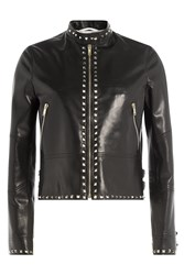 Valentino Rockstud Untitled Leather Jacket Black