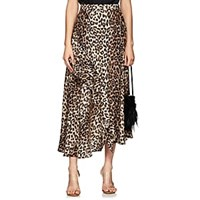Barneys New York Leopard Print Silk Matte Satin Skirt Multi