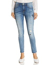 Aqua Embellished Distressed Skinny Jeans In Medium Wash 100 Exclusive