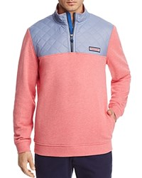Vineyard Vines Quilted Shoulder Quarter Zip Pullover Jetty Red