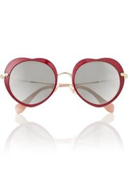 Miu Miu Heart Shaped Sunglasses Red