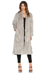Adrienne Landau Rabbit Fur Duster Coat Gray