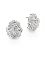 Judith Ripka Estate White Sapphire And Sterling Silver Pave Earrings