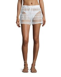 Milly Crocheted Drawstring Coverup Shorts White