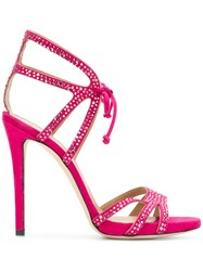 Marc Ellis Crystal Embellished Strappy Sandals Leather Pink Purple