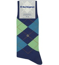 Burlington Edinburgh Wool Blend Socks Royal Blue