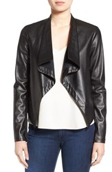 Bb Dakota Women's 'Peppin' Drape Front Faux Leather Jacket Black
