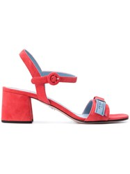 Prada Logo Sandals Goat Skin Leather Red