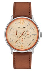 Ted Baker London Jason Multifunction Leather Strap Watch 42Mm Beige Light Brown