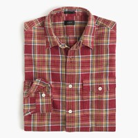 J.Crew Slim Heathered Slub Cotton Shirt In Red Plaid Aztec Brick