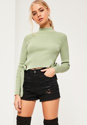 Missguided Green Tie Side Ribbed Crop Top