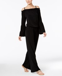 Inc International Concepts Petite Off The Shoulder Wide Leg Jumpsuit Only At Macy's Deep Black