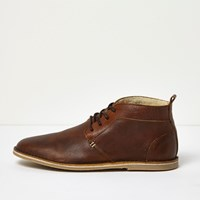 River Island Mens Brown Borg Lined Leather Desert Boots