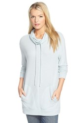 Women's Caslon Brushed Drawstring Funnel Neck Tunic Blue Raindrop