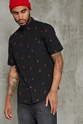 Forever 21 Slim Fit Rose Print Shirt Black Red