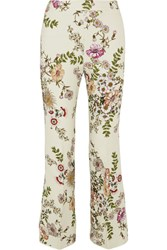 Giambattista Valli Cropped Satin Trimmed Printed Crepe Flared Pants Cream
