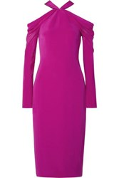 Cushnie Et Ochs Cold Shoulder Silk Crepe De Chine Midi Dress Fuchsia