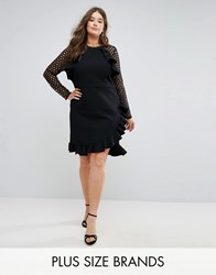 Truly You Wrap Front Dress With Lace Sleeve Detail Black