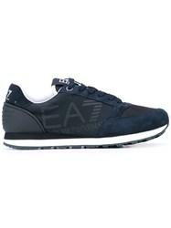 Emporio Armani Ea7 New Vintage Racer Sneakers Unisex Suede Polyester Synthetic Resin Rubber 40 Blue