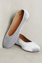 Anthropologie The Palatines Adeo Velvet Ballet Flats Silver