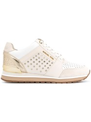 Michael Michael Kors Perforated Sneakers Women Cotton Leather Rubber 8.5 Nude Neutrals