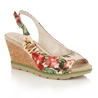 Lotus Nora Peep Toe Wedge Sandals Beige