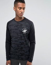 Jack And Jones Long Sleeve Camo Raglan T Shirt Black