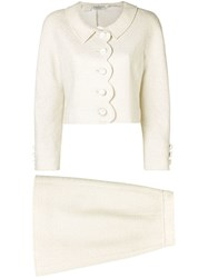 Valentino Vintage Scalloped Detailing Skirt Suit White