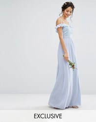 Maya Cold Shoulder Maxi Dress With Delicate Sequins Blue