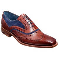 Barker Mcclean Goodyear Welted Leather Brogue Shoes Cedar Blue Rosewood