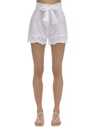 Ermanno Scervino Ruffled Sheer Lace Shorts White