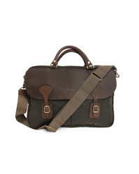 Barbour Khaki Waxed Cotton Leather Briefcase