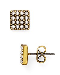 Marc Jacobs Simulated Pearl Square Stud Earrings Cream Antique Gold