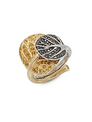 Michael Aram Botanical Leaf Black Diamond Yellow Sapphire And 18K Gold Ring