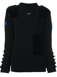 Off White Knitted Velvet Panel Jumper Black