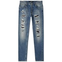 Alexander Mcqueen Rip And Repair Slim Jean Blue