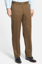 Men's Big And Tall Berle Flat Front Wool Gabardine Trousers Tobacco