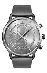 Boss Architectural Chronograph Leather Strap Watch 44Mm Gunmetal Grey