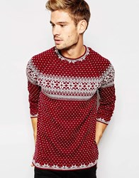 Asos Christmas Jumper With Snowflake Design Burgundy
