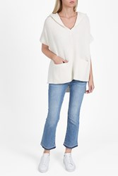 Derek Lam Cashmere Hooded Poncho Ivory