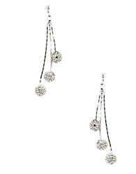 Anne Klein Silvertone Drop Earrings With Pave Crystal Ball Accents