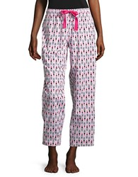 Lord And Taylor Printed Cotton Pajama Pants Pink Mist