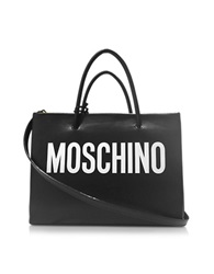 Moschino Black And White Signature Eco Leather E W Tote Black White