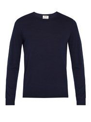 Acne Studios Clissold O Crew Neck Wool Sweater Navy