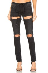 Off White Ripped Skinny Jeans Black