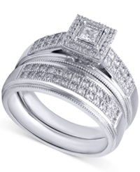 Beautiful Beginnings Diamond Engagement Ring And Wedding Band 1 3 Ct. T.W. In Sterling Silver