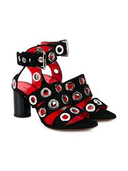 Proenza Schouler Suede Grommet High Heel Sandals Black Almond Silver Red