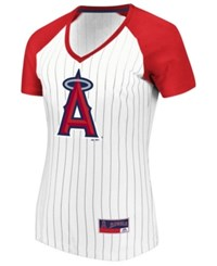 Majestic Los Angeles Angels Every Aspect Pinstripe T Shirt White Red