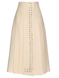 Fendi Laced Leather Wool And Silk Blend Gazar Skirt White