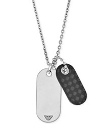Emporio Armani Men's Stainless Steel And Leather Dog Tag Pendant Necklace Egs2060